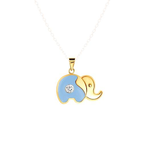 Zawieszka słonik Animals: złota, cyrkonia