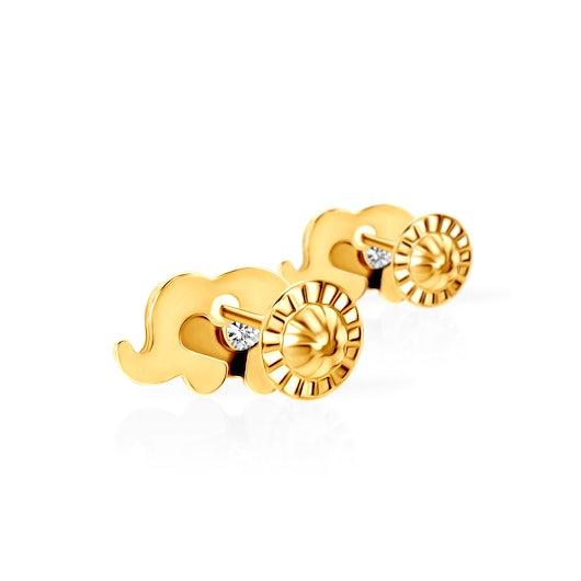 Kolczyki słoniki Animals: złote, cyrkonie