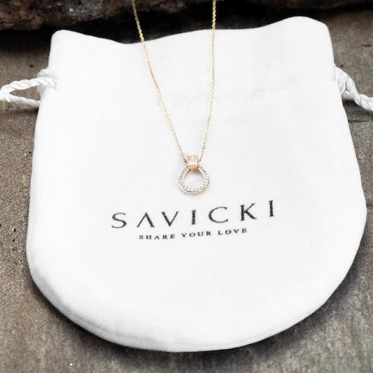 Naszyjnik Savicki: złoty, diamenty