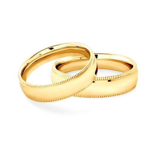 Wedding Rings: gold, Court Shaped, 5 mm
