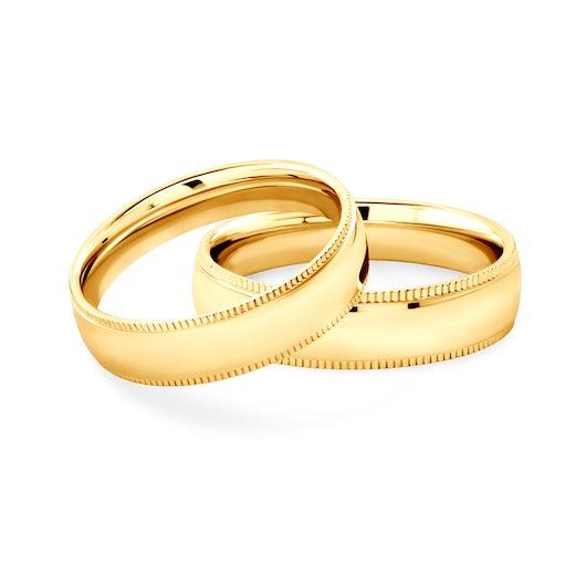 Snubní prsteny: žluté zlato, kulaté, 5 mm