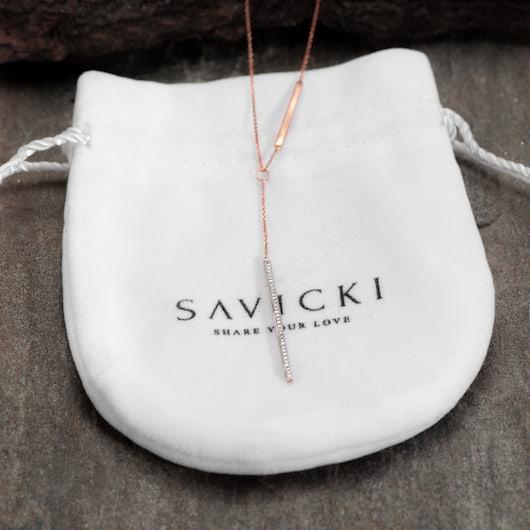 Naszyjnik Savicki: różowe złoto, diamenty
