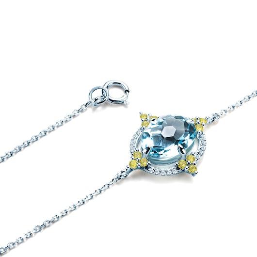Bransoletka Rainbow: białe złoto, topaz, diamenty, perydoty