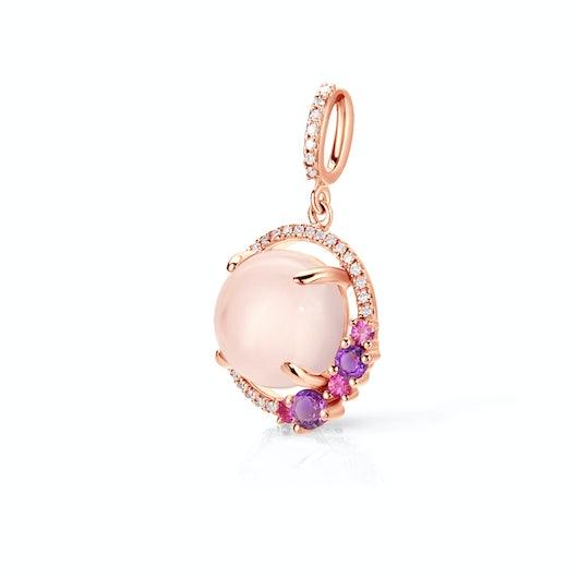 Zawieszka Rainbow: różowe złoto, różowy kwarc, różowe szafiry, ametysty, diamenty
