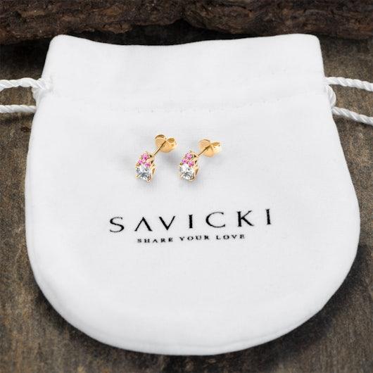 Kolczyki SAVICKI: złote, białe szafiry