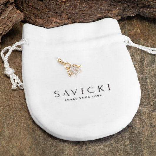 Zawieszka aniołek Savicki: złota, diamenty