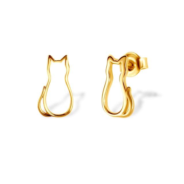 Kolczyki kot Animals: srebrne pozłacane