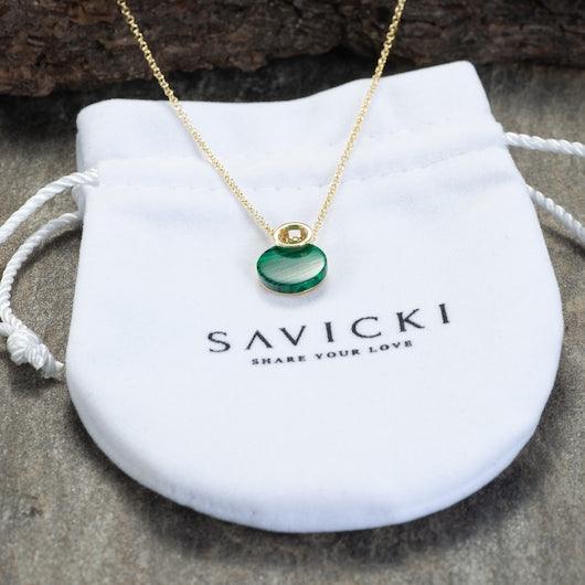 Naszyjnik Savicki: srebrny pozłacany, malachit