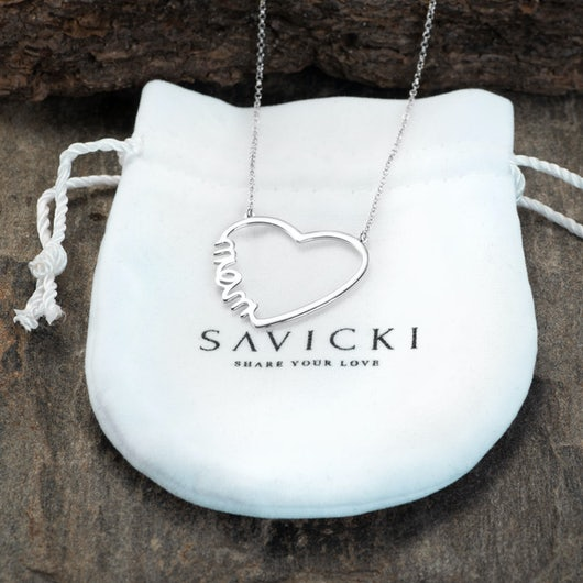 Naszyjnik celebrytka serce Savicki: srebrny