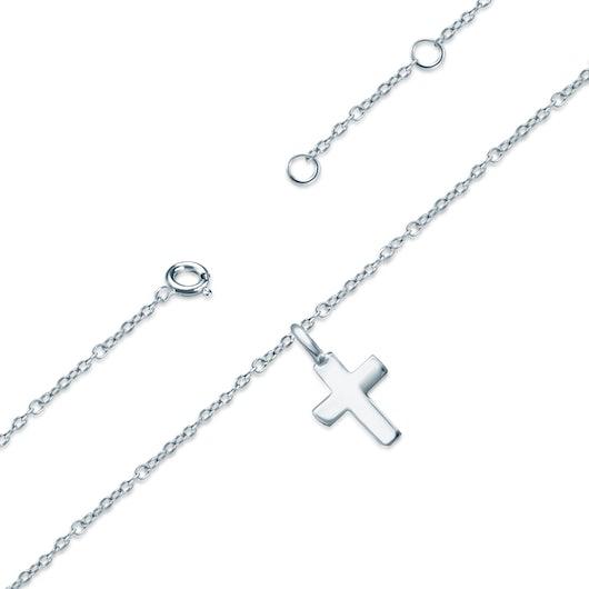 Bransoletka na nogę krzyżyk Savicki: srebrna