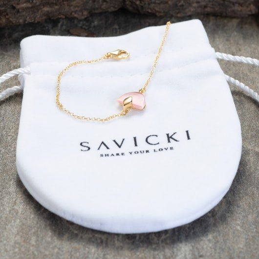 Bracelet Savicki: gold-plated silver, rose cat eye