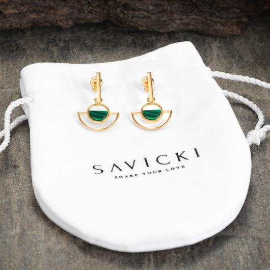 Kolczyki Savicki: srebrne pozłacane, malachity