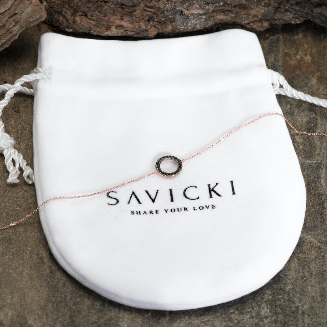 Bransoletka koło Savicki: różowe złoto, czarne diamenty