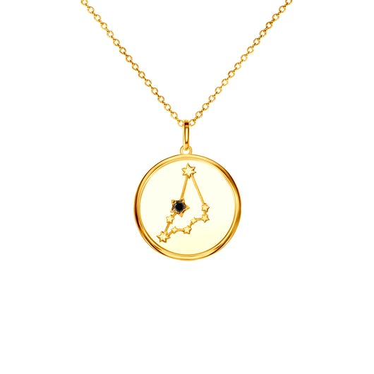 Naszyjnik znak zodiaku koziorożec Savicki: srebrny pozłacany, czarny diament