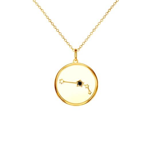 Naszyjnik znak zodiaku baran Savicki: srebrny pozłacany, czarny diament