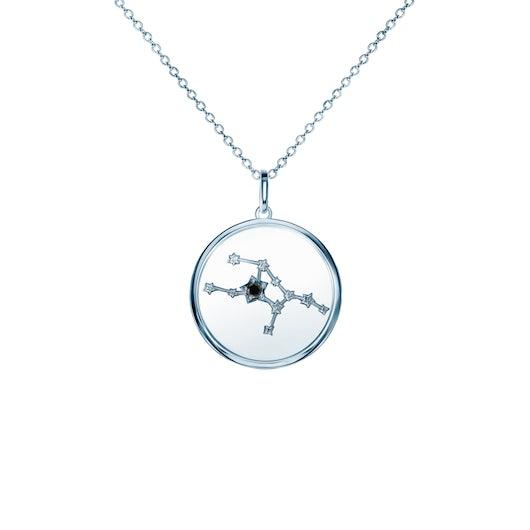 Naszyjnik znak zodiaku panna Savicki: srebrny, czarny diament