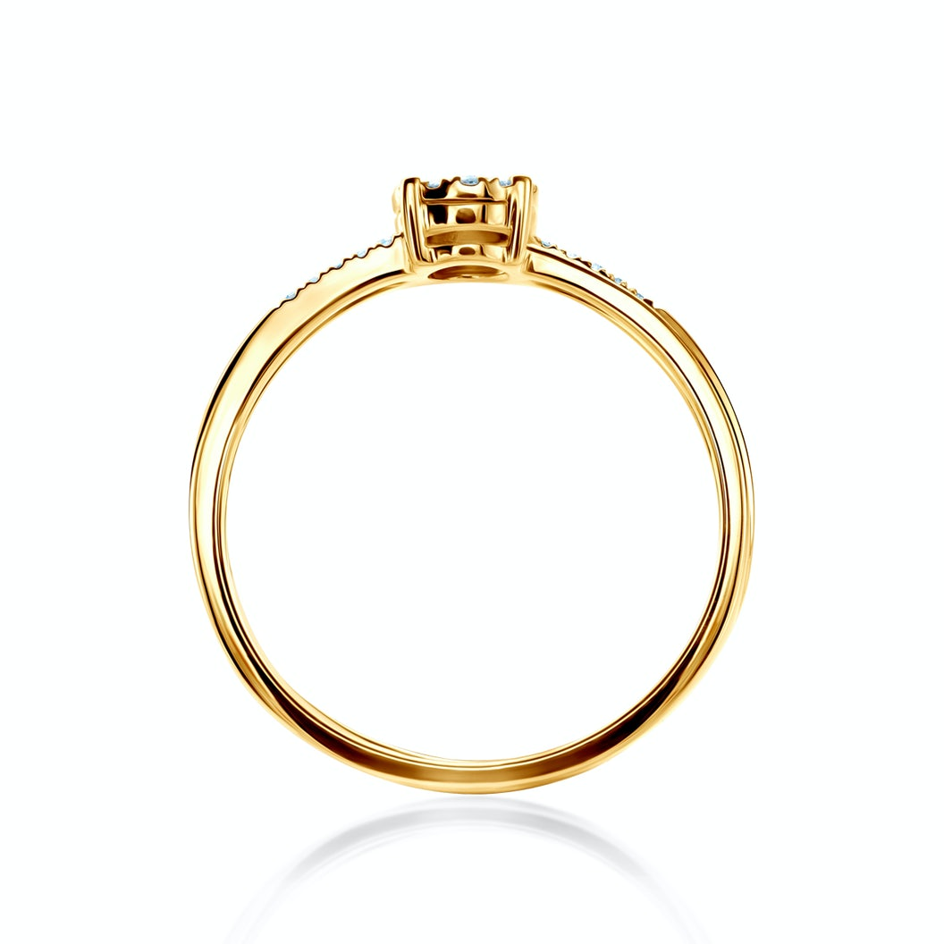 Side-Stone Engagement Ring: two colour gold, diamonds
