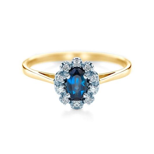 Niebieski kamień szlachetny - pierścionek zaręczynowy SAVICKI