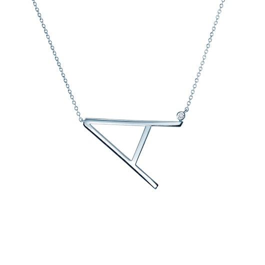Naszyjnik celebrytka litera A Savicki: srebrny, biały szafir
