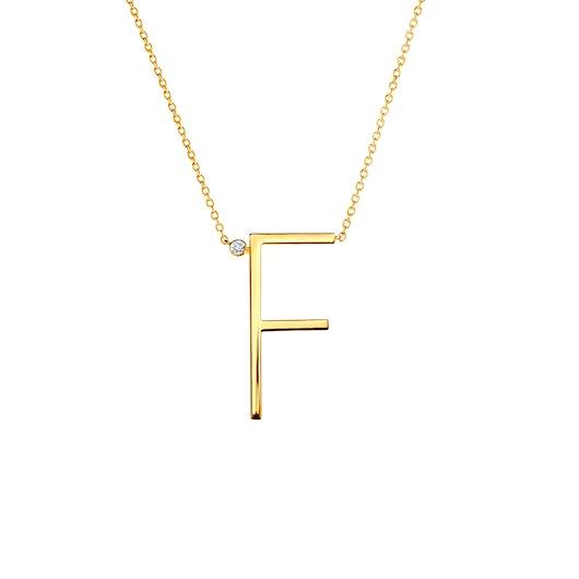 Naszyjnik celebrytka litera F Savicki: srebrny pozłacany, biały szafir