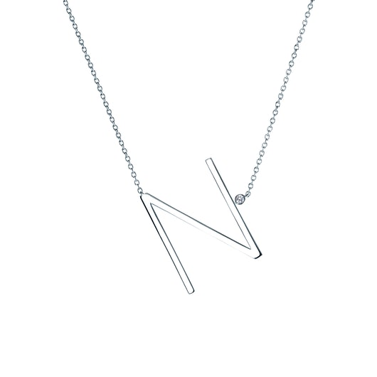 Naszyjnik celebrytka litera N Savicki: srebrny, biały szafir