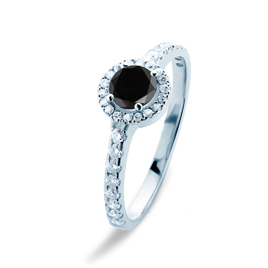This is Love Collection | Halo Engagement Ring: white gold, black diamond