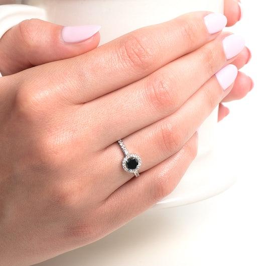 Zásnubní prsten This is Love: bílé zlato, černý diamant