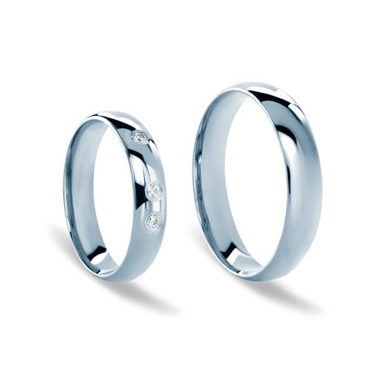 Obrączki ślubne: białe złoto, półokrągłe, 4 mm