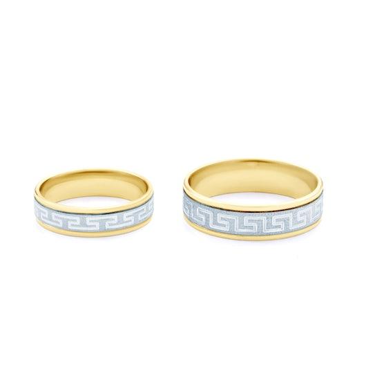 Obrączki ślubne: dwukolorowe złoto, płaskie, 5 mm
