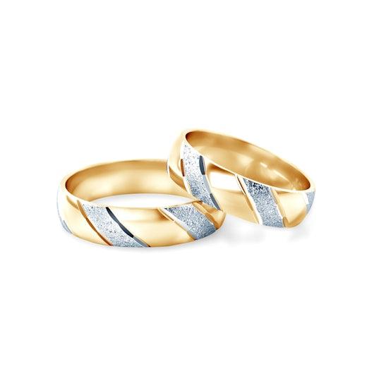 Obrączki ślubne: dwukolorowe złoto, półokrągłe, 4,3 mm