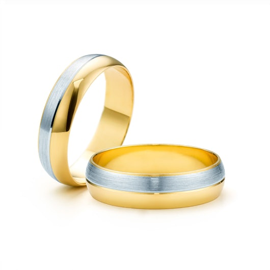 Obrączki ślubne: dwukolorowe złoto, półokrągłe, 5 mm