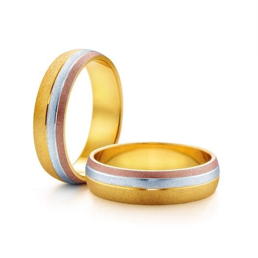 Obrączki ślubne: trzykolorowe złoto, półokrągłe, 5 mm