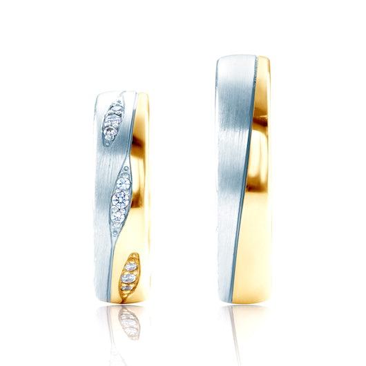 Obrączki ślubne: dwukolorowe złoto, okrągłe, 5 mm