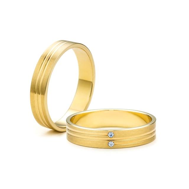 Obrączki ślubne: złote, płaskie, 4 mm
