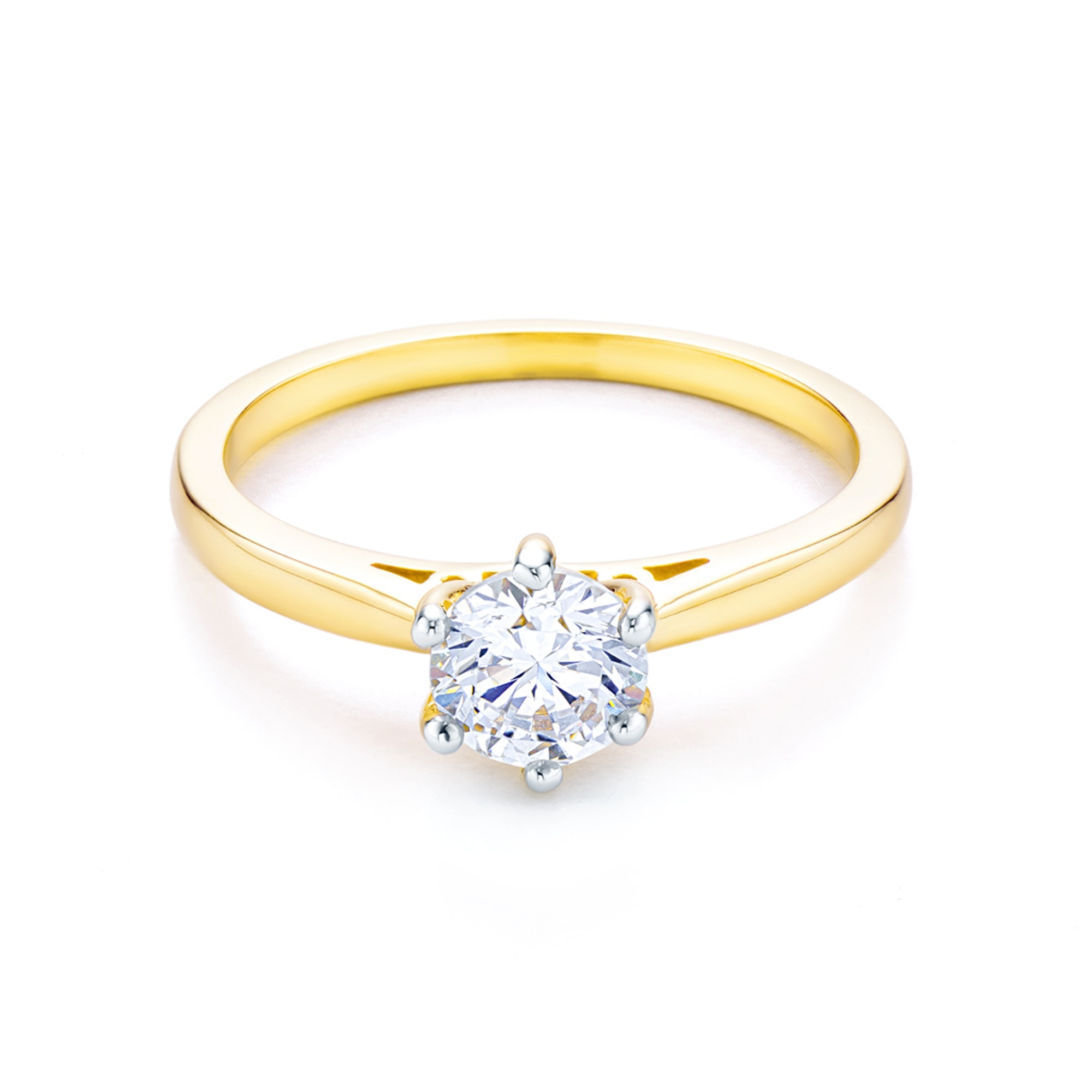 Solitaire Engagement Ring Two Colour Gold Cubic Zirconia C 12006 Pi Savicki 1976