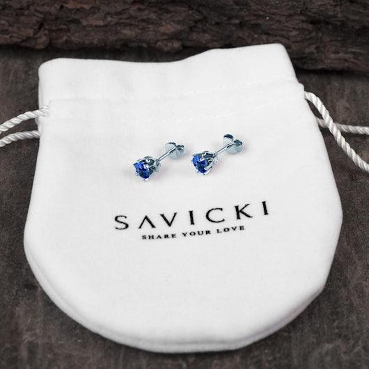 Earrings SAVICKI: white gold, sapphire