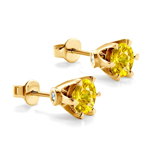 Kolczyki SAVICKI: złote, żółte szafiry