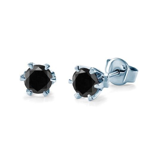 Náušnice SAVICKI: bílé zlato, černé diamanty