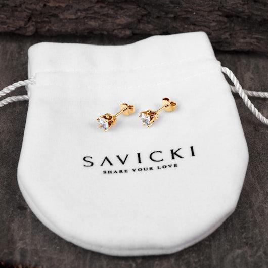 Kolczyki SAVICKI: złote, biały szafiry