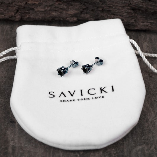 Náušnice SAVICKI: černé zlato, černé diamanty