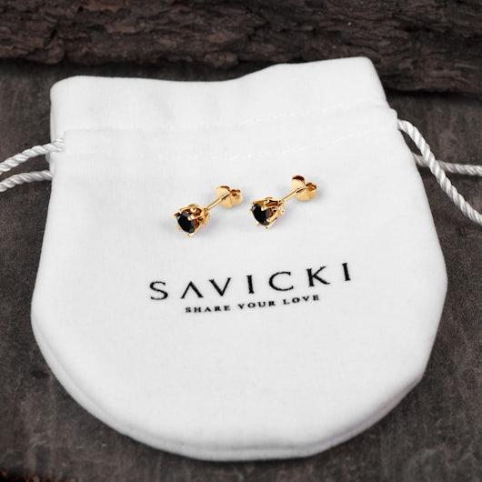Náušnice SAVICKI: zlaté, černé diamanty