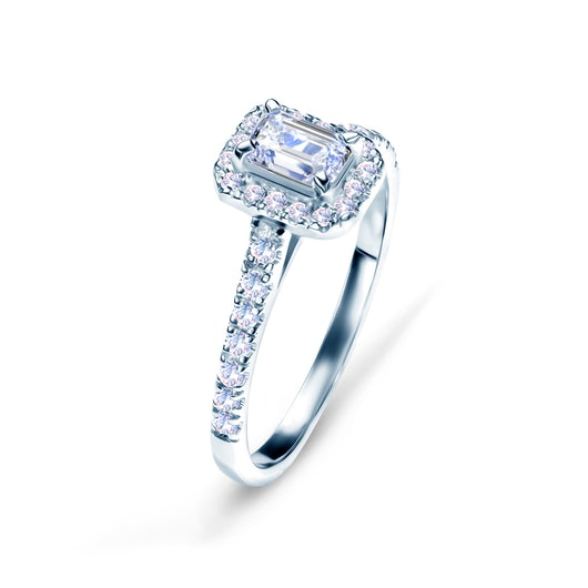 Halo Engagement Ring: white gold, diamond