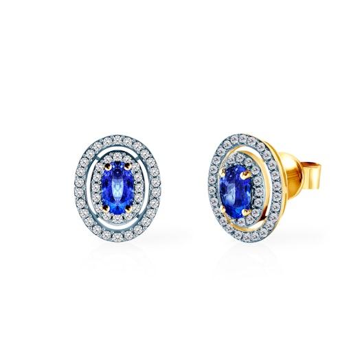 Kolczyki Savicki: złote, diamenty, niebieskie szafiry