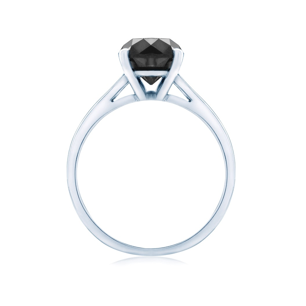 Solitaire Engagement Ring: white gold, black diamond