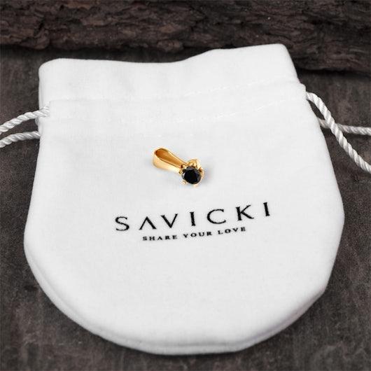 Pendant SAVICKI: gold, black diamond