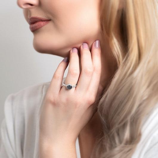 Tension Engagement Ring: white gold, black diamond