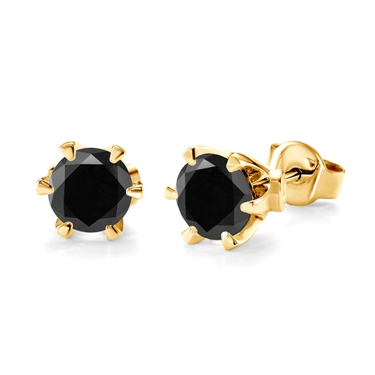 Earrings SAVICKI: gold, black diamonds
