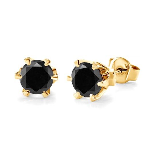 Kolczyki SAVICKI: złote, czarne diamenty