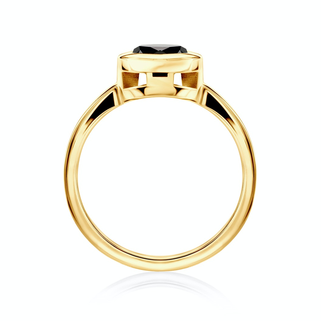 Tension Engagement Ring: gold, black diamond