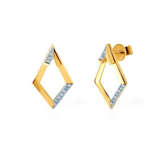 Kolczyki romb Savicki: złote, diamenty